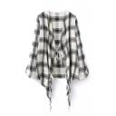 Plain V-Neck Open Front Asymmetrical Tassel Hem Long Sleeve Shirt