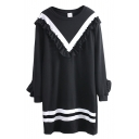 Round Neck Striped Trims Frill Long Sleeve Tunic Sweatshirt