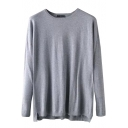 Plain High Low Hem Screw Neck Long Sleeve Sweater