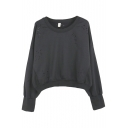 Plain Long Sleeve Round Neck Crop Sweatshirt