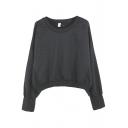 Plain Long Sleeve Round Neck Crop Sweatshirt