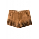 Plain Zipper Fly Suede Tassel Hem Hot Shorts
