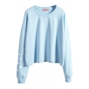 Long Sleeve Round Neck Plane Print Sweatshirt