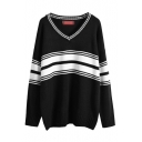 Stripe V-Neck Long Sleeve Tunic Sweater