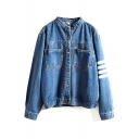 Blue Stripe Stand Up Collar Long Sleeve Denim Coat