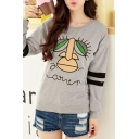 Round Neck Stripe Trims Cartoon Print Long Sleeve Sweatshirt