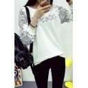 Round Neck Long Sleeve Pullover Print Sweatshirt