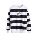 Stripe Print Letter Horse Pattern Long Sleeve Sweatshirt