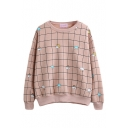 Round Neck Long Sleeve Plaid Cartoon Print Sweatshirt