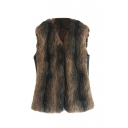 Ombre Faux Fur V-Neck Sleeveless Woolen Vest