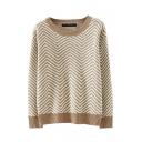Wave Stripe Pattern Round Neck Long Sleeve Sweater