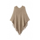 Plain V-Neck Pullover Knit Tassel Cape Sweater
