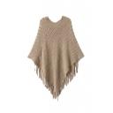 Plain V-Neck Pullover Knit Tassel Cape Sweater