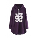 Hooded Number and Letter Print Long Sleeve Tunic Sweatshirt