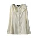 Round Neck Plain White Long Sleeve Single Breasted Ruffle Hem Shirt