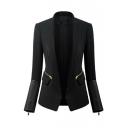 Plain Black Long Sleeve Lapel Open Front Blazer with Zipper Detail