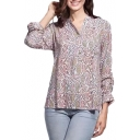 Tribal Print Button Front Collarless Long Sleeve Shirt