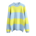 Round Neck Long Sleeve Color Block Stripe Sweater
