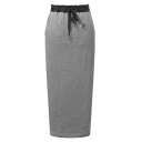 Drawstring Waist Split Back Long Skirt
