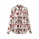 Lapel Long Sleeve Button Down Tribal Print Shirt