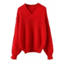 Plain Long Sleeve V-Neck Slim Sweater