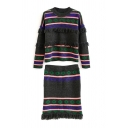 Diamond Pattern Tassel Trim Sweater with Knit Skirt