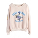Long Sleeve Graffiti Print Boat Neck Sweatshirt