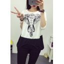 Color Block Elephant Print Long Sleeve Round Neck Tee