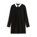 Collar Color Block Long Sleeve Black Dress