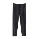 Plaid Zipper Fly Cigarette Ankle Length Pants