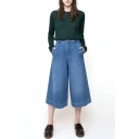 Plain Blue Zipper Fly Denim Crop Pants