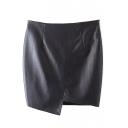 Black Zipper Side Asymmetrical Hem PU Wrap Skirt