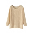 Plain Apricot Round Neck Split Hem Pullover Sweater
