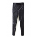 Elastic Waist PU Black Cigarette Pants
