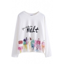Round Neck Long Sleeve Cartoon Ice Cream Print Tee
