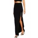 Black Elastic Waist Split Side Wrap Maxi Skirt
