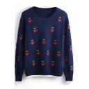 Round Neck Cherry Print Long Sleeve Knit Sweater
