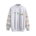 Cartoon Print Crew Neck Long Sleeve Sweatshirt