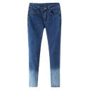 Blue Zippered Double Pocket Ombre Jeans