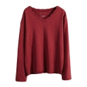 Plain V-Neck Long Sleeve Tunic T-Shirt