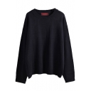 Long Sleeve Round Neck Plain Sweater