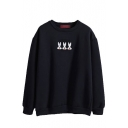 Black Rabbits Embroidered Round Neck Sweatshirt