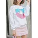 White Cute Cartoon Print Long Sleeve Sweatshirt