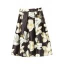 High Waist Floral Print Midi A-Line Skirt