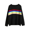 Multi Color Stripe Long Sleeve Round Neck Sweater