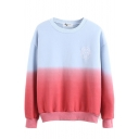 Color Block Letter Embroidered Long Sleeve Sweatshirt