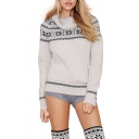 Geometric Pattern High Neck Sweater