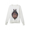 White Cartoon Print Long Sleeve Round Neck Sweatshirt