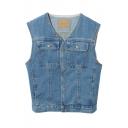 V-Neck Sleeveless Single Breasted Double Pockets Vest