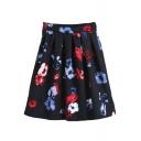 Elastic Waist Floral Print A-Line Midi Skirt